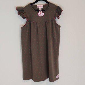 Ruffle Girl 10 Dress Short Sleeve Polka Dot Green